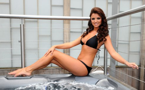 Lucy Mecklenburgh pictured at the launch of her new swimwear range, Bella Bamba, at the Soho Sanctum hotel in central London.